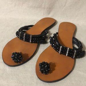 Dizzy Beaded & Rhinestone Decorated Flat Sandals